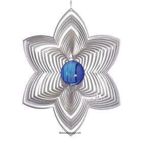 Vindspel Blomma 21 cm blå kula