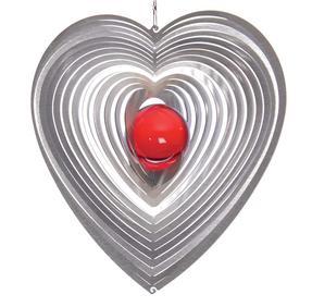 Vindspel Hjärta 15 cm röd kula