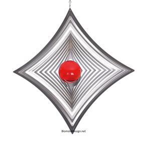 Vindspel Ruter 18 cm röd kula