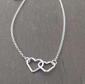 Halsband double heart silver