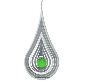 Vindspel Droppe 22 cm grön kula