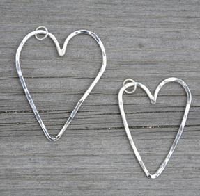 Hamrat hjärta stort silver