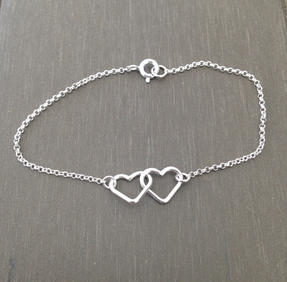 Armband double heart silver