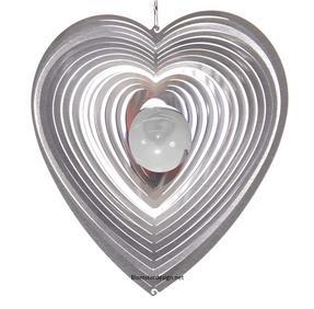Vindspel Hjärta 15 cm klar kula