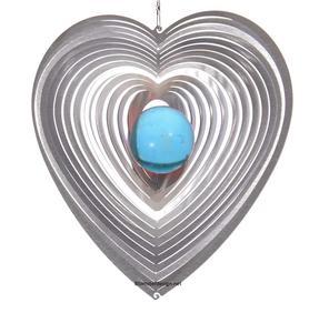 Vindspel Hjärta 15 cm turkos kula