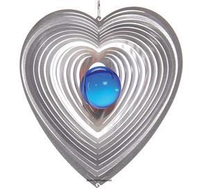 Vindspel Hjärta 15 cm blå kula