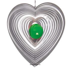Vindspel Hjärta 15 cm grön kula