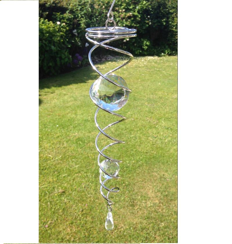 Dubbel spiral 38cm med två kristallkulor