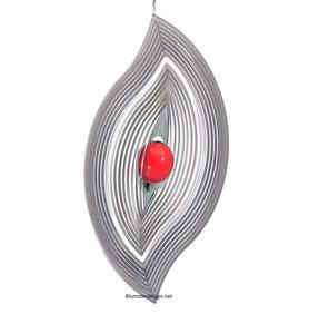 Vindspel Blad 23 cm röd kula